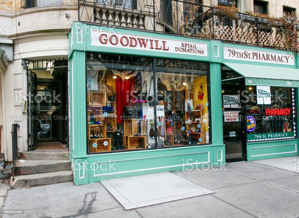 Goodwill store New York, January 21, 2017: Front of a Goodwill store on west 79 street in Manhattan. Adversity Stock Photo
