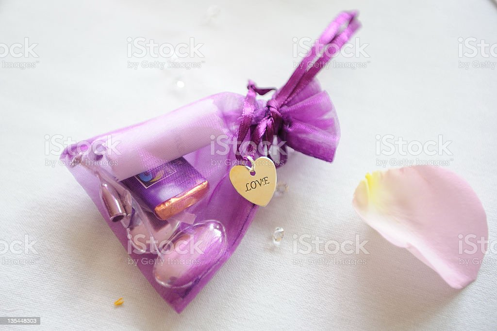Goody bag at wedding reception. royalty-free stock photo