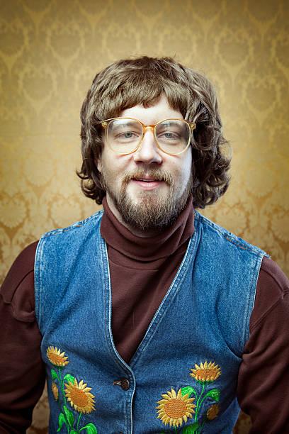 goofy hippie. professor - hippie stock-fotos und bilder