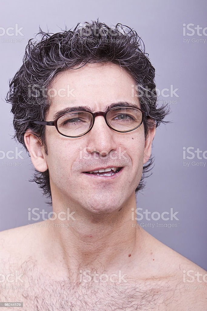 Goofy looking young man in eyeglasses royalty-free stock photo