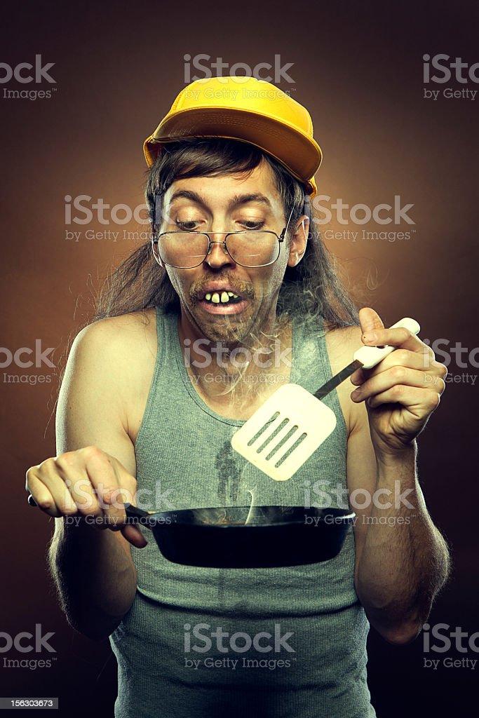 Goofy Redneck Cooking Disaster stock photo