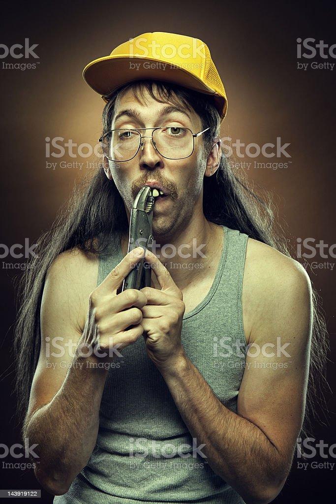 Goofy Redneck Dental Work stock photo