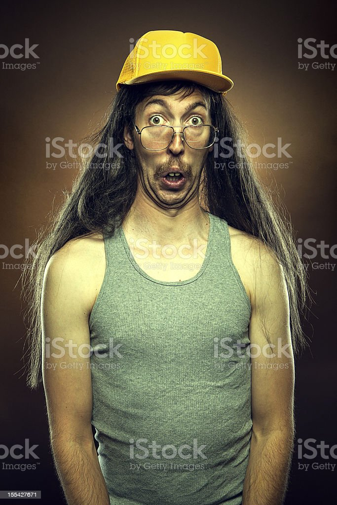 Goofy Redneck With Surprised Face stock photo
