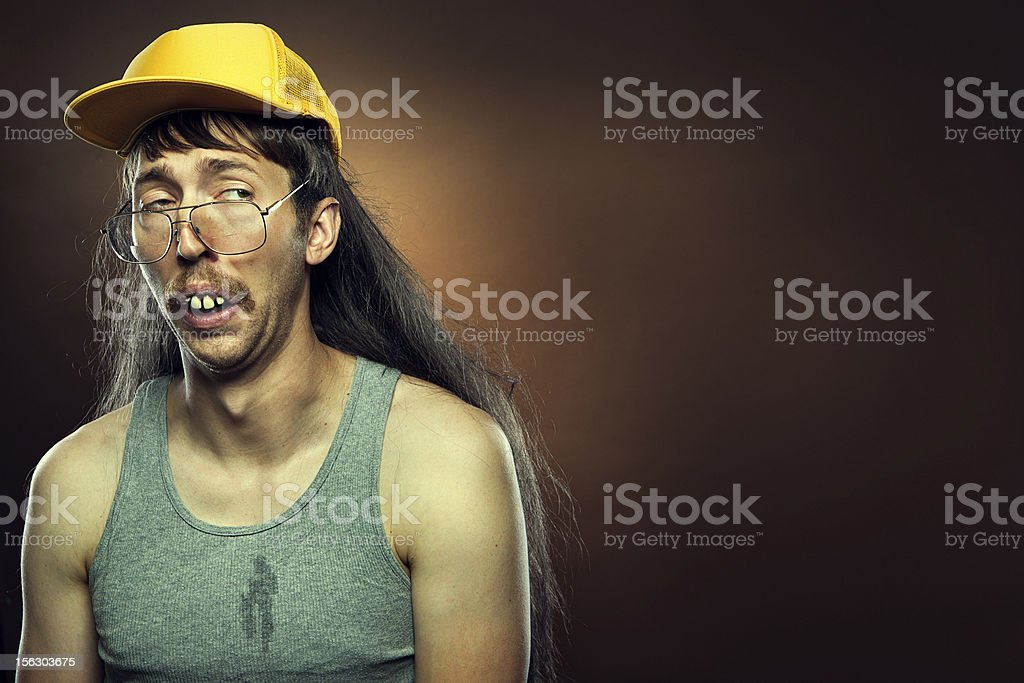 Goofy Skeptical Redneck With Mullet stock photo