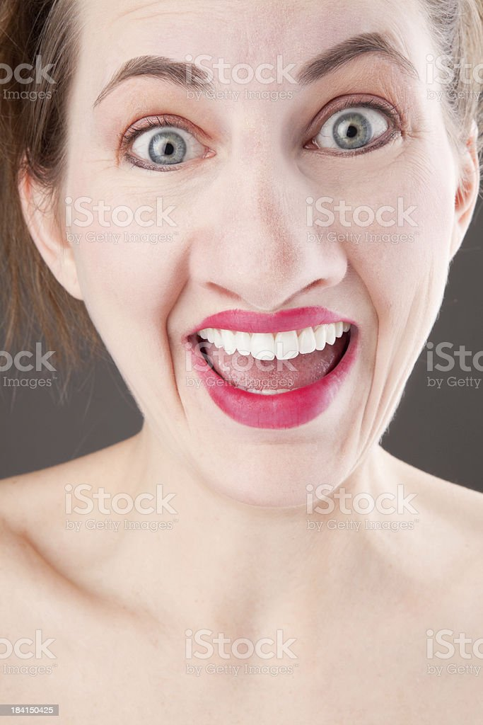 Goofy Smiling Woman with Large Nose stock photo
