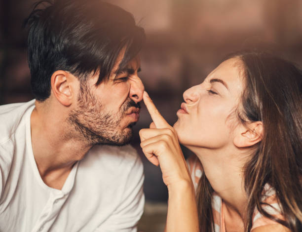 Goofy young couple stock photo