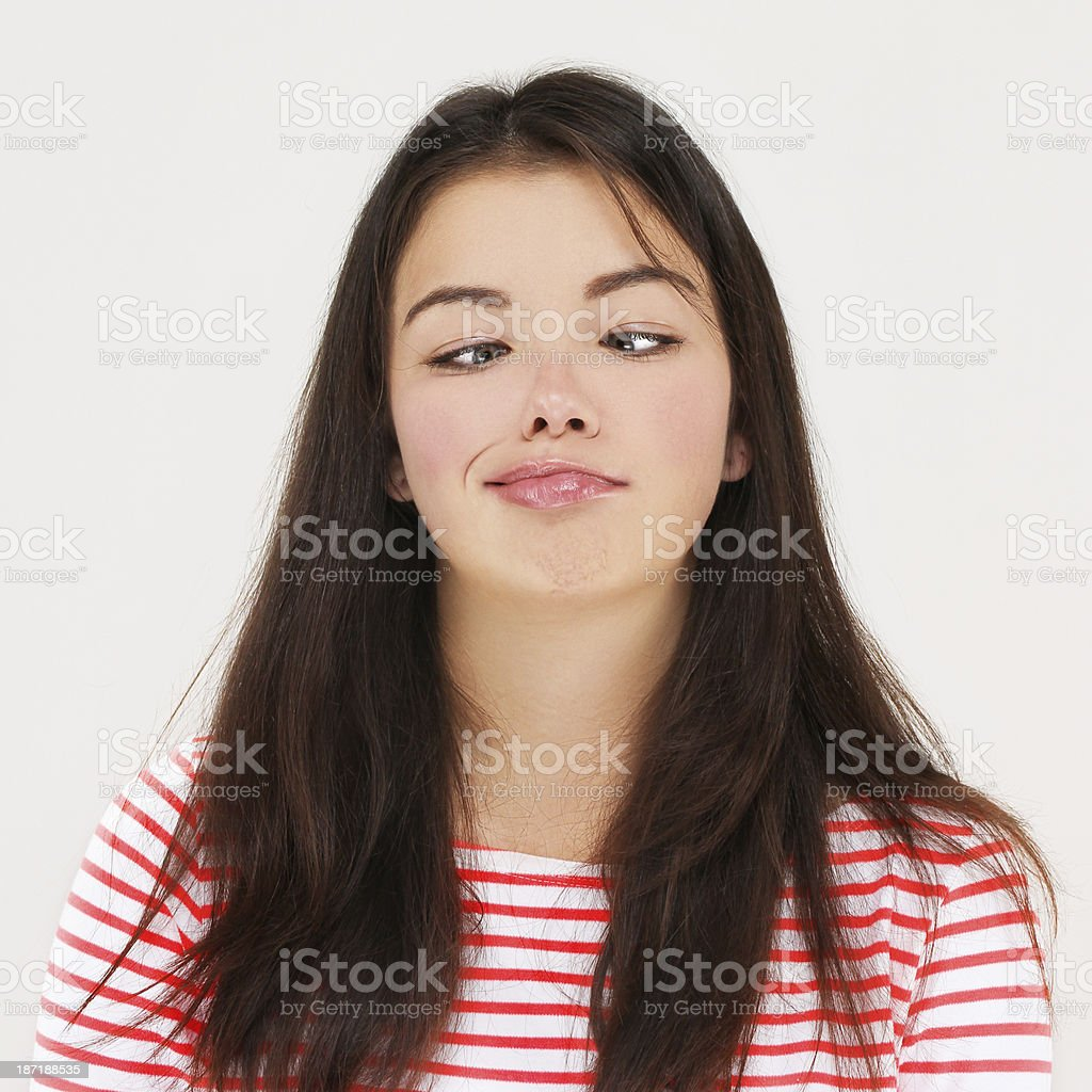 Goofy young woman making a grimace. royalty-free stock photo