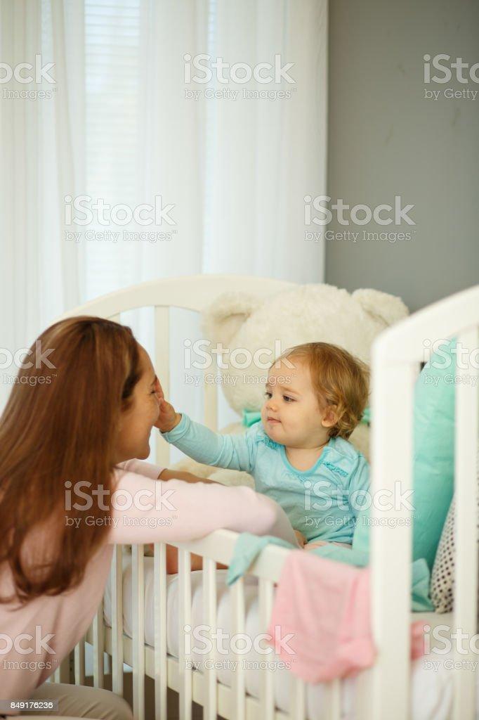 Goog morning, baby girl stock photo