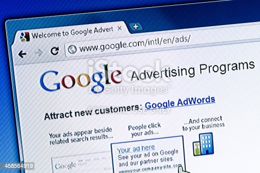 Florence, Italy - July 17, 2011: Close up of an LCD screen showing the main page of the Google Advertising Programs, a Google Inc. service that allows to buy advertising through its AdWords and AdSense programs. Google Chrome web browser.