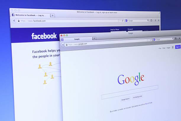 Google and Facebook website Johor, Malaysia - Dec 09, 2013: Photo of Google and Facebook webpages. As of today, Google and Facebook are famous sites on the web, Dec 09, 2013 in Johor, Malaysia. google stock pictures, royalty-free photos & images