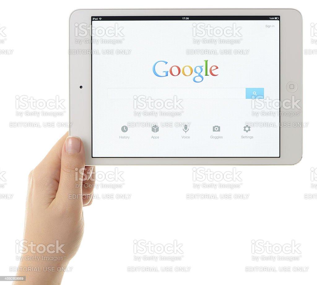 Google and iPad Mini stock photo