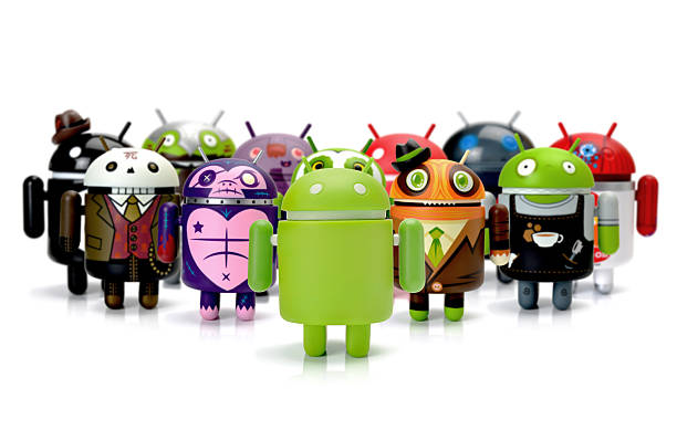 google android phone characters group - cyborg stock photos and pictures