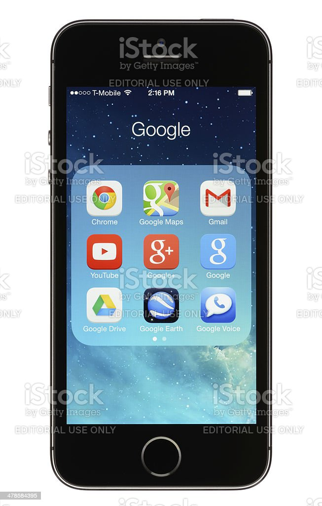 Google Apps on an iPhone 5s stock photo