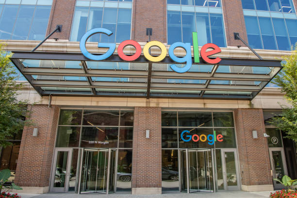 Google building in the West Loop, Fulton Market area Chicago, IL - September 7. 2019: View of the new Google building in the West Loop, Fulton Market area of downtown Chicago. google stock pictures, royalty-free photos & images