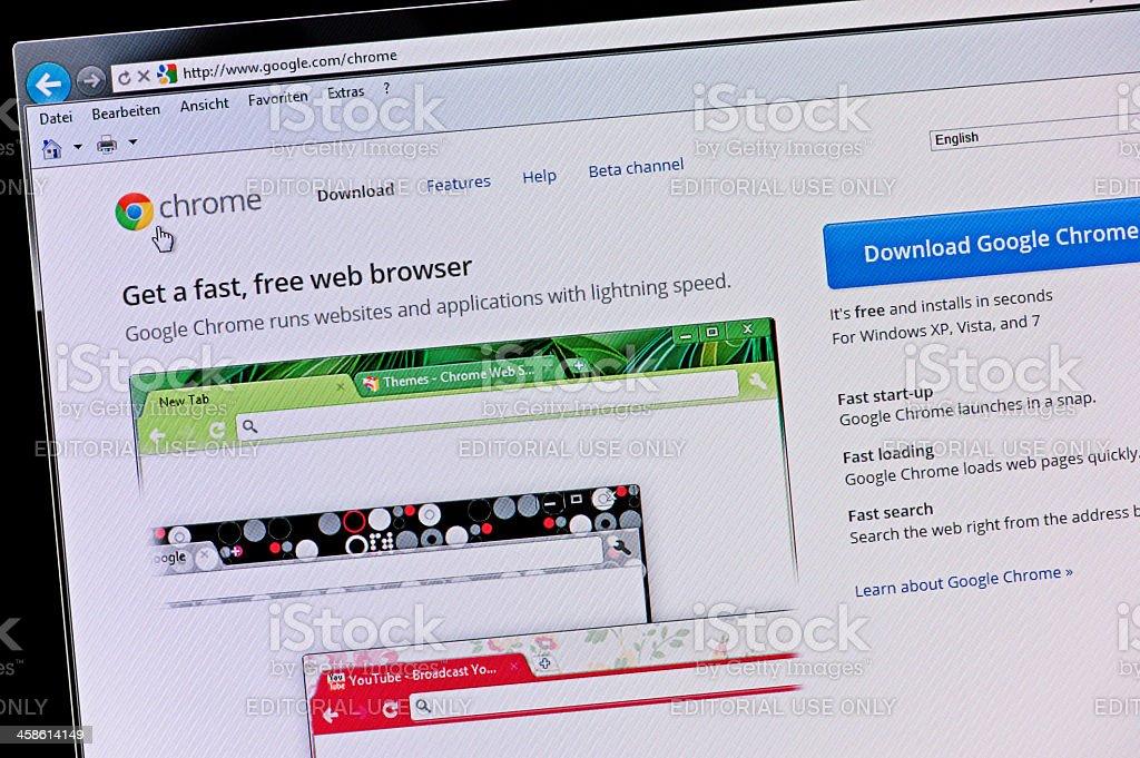 Google Chrome - Macro shot of real monitor screen stock photo