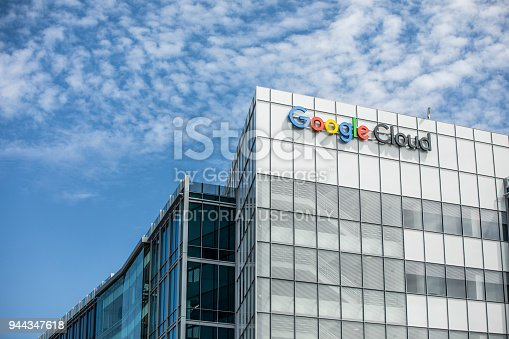 Sunnyvale, California, USA - April 4, 2018: Headquarters for Google Cloud computing, located at 1155 Borregas Ave, Sunnyvale, CA 94089.