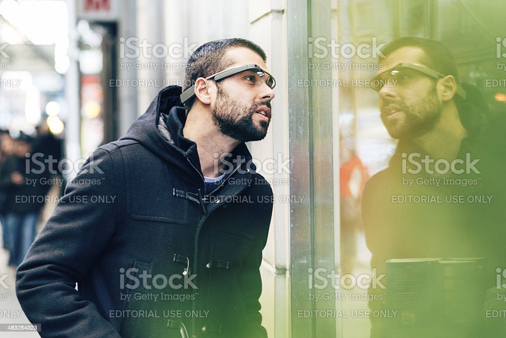 Google Glass New York stock photo