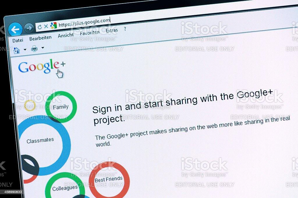 Google+ Macro shot of real monitor screen stock photo