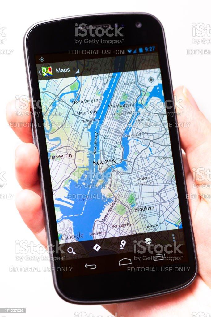 Google Maps App, New York City on Galaxy Nexus royalty-free stock photo