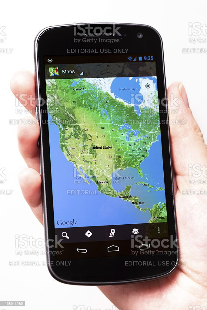 Google Maps App, United States on Galaxy Nexus royalty-free stock photo