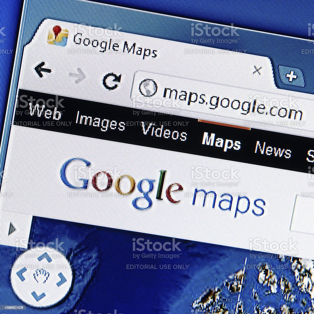 Google Maps Logo on LCD Screen, Chrome Web Browser stock photo