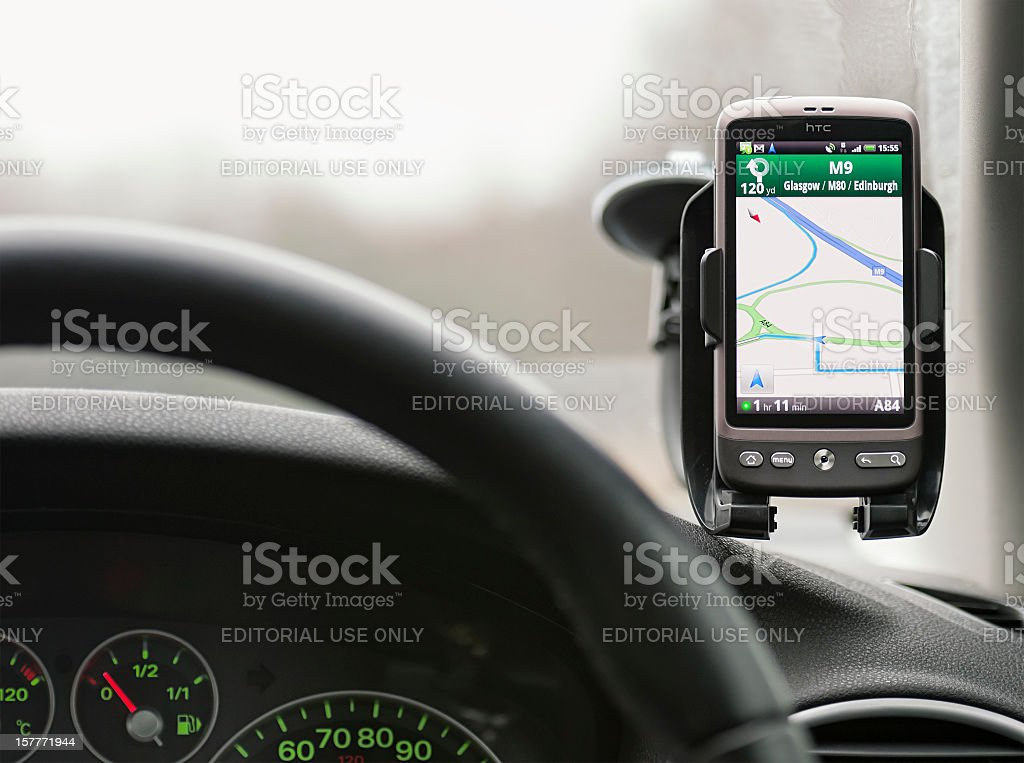 Google Maps Navigation In Use stock photo