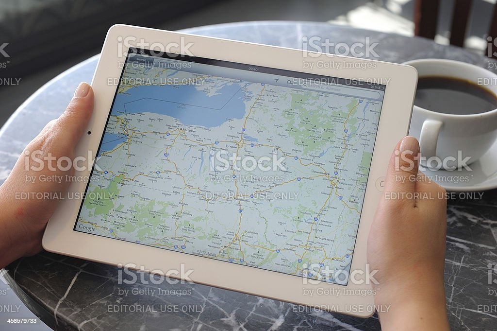 Google maps on iPad 3 stock photo