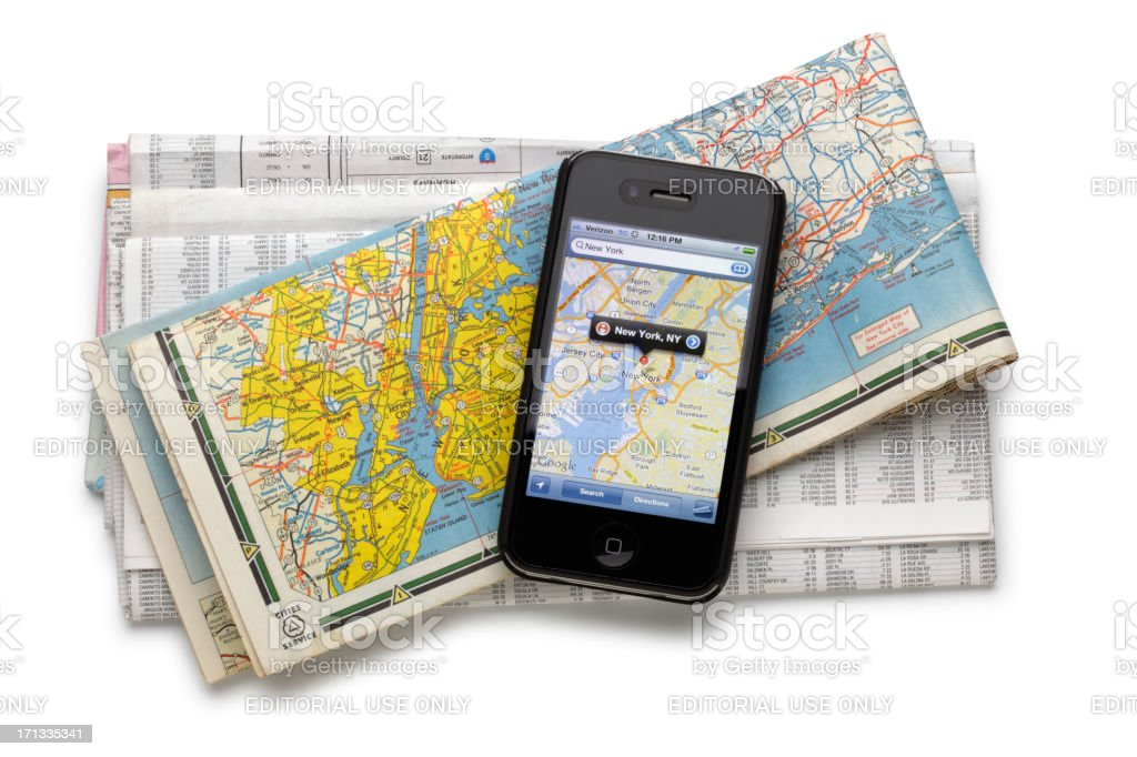 Google Maps On Iphone Vs Traditional Map Stock Photo ... on google maps print free, google earth 2012, 3d street maps free, street map template free, map clip art free, animation download free, android download free,