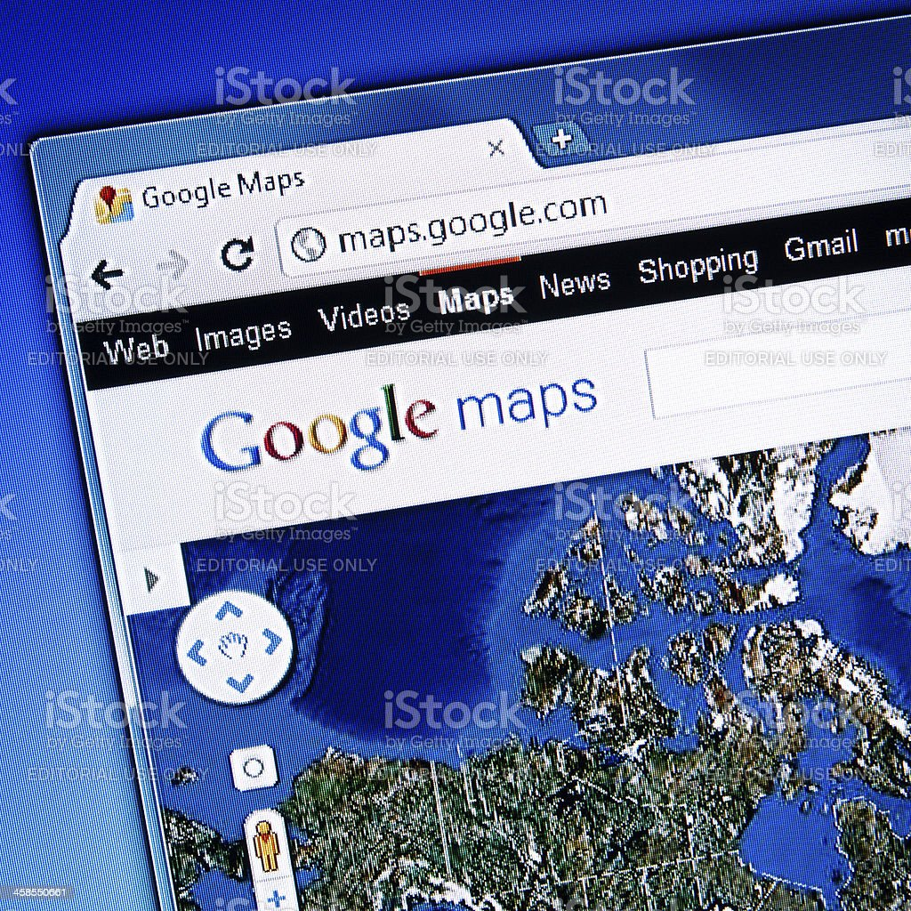 Google Maps Page, Chrome Web Browser stock photo