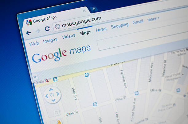 """Google maps """"Lupeni, Romania - May 11, 2011: Close up of Google Maps main page on the web browser. Google Maps is Google\'s very popular map solution. It uses satellite generated images and provides detailed maps all over the world."""" google stock pictures, royalty-free photos & images"""