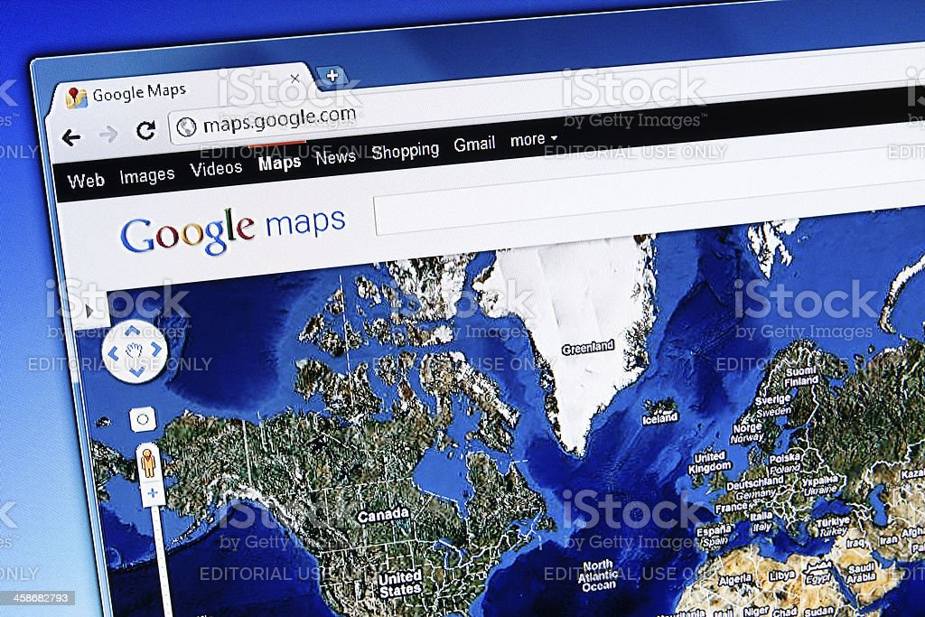 Google Maps Satellite View on LCD Screen, Chrome Web Browser stock photo