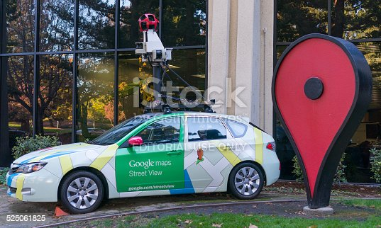 istock Google maps street view car in front of Google office. 525061825
