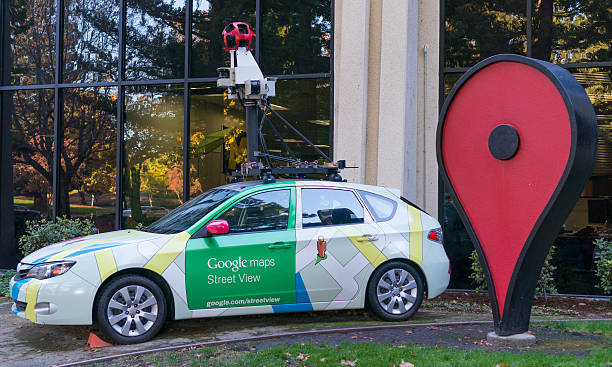 Google maps street view car in front of Google office. stock photo
