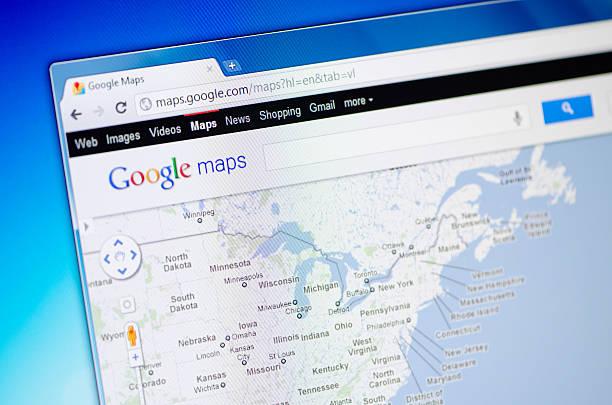 Google Maps Webpage On The Browser Stockfoto und mehr Bilder von ...