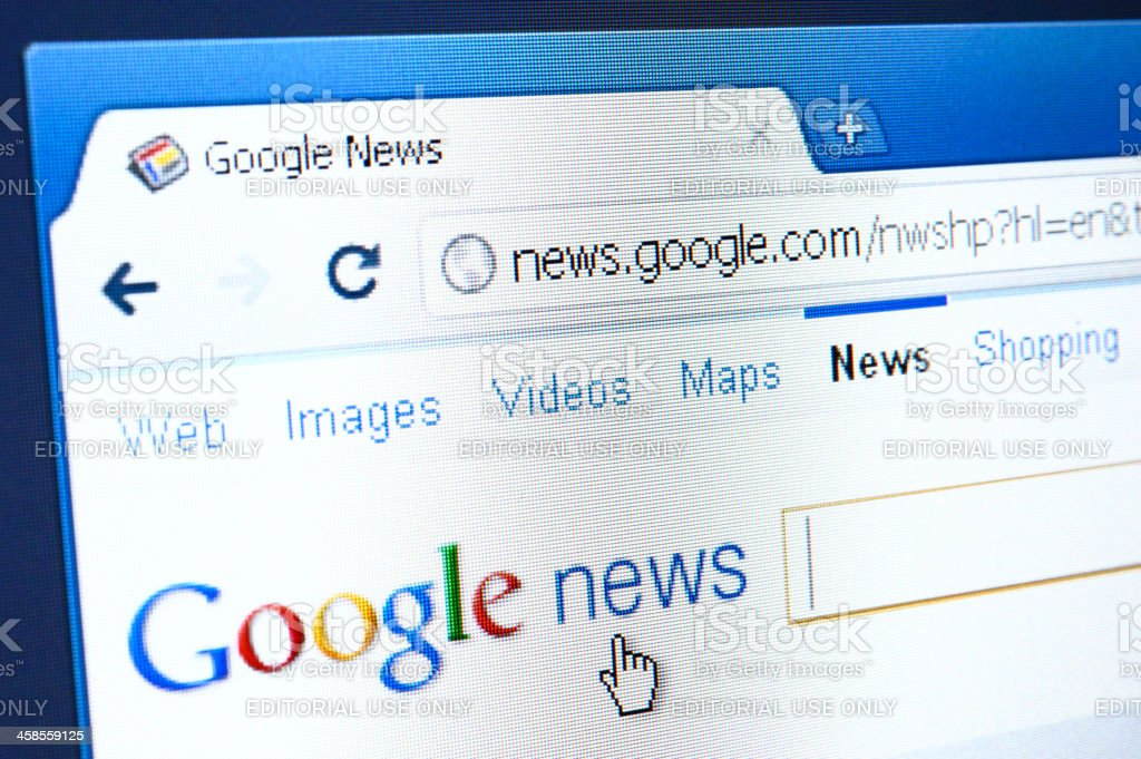 Google News webpage on the browser royalty-free stock photo