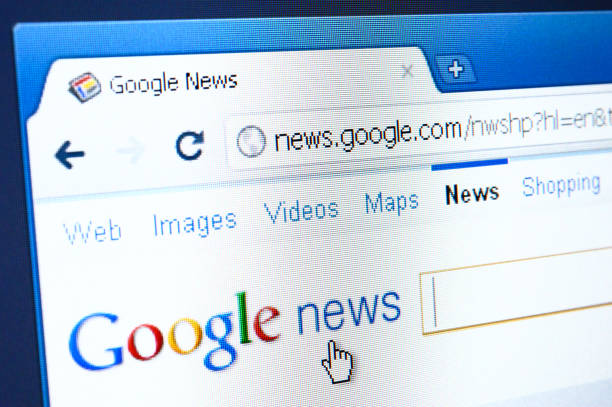 Google News webpage on the browser stock photo