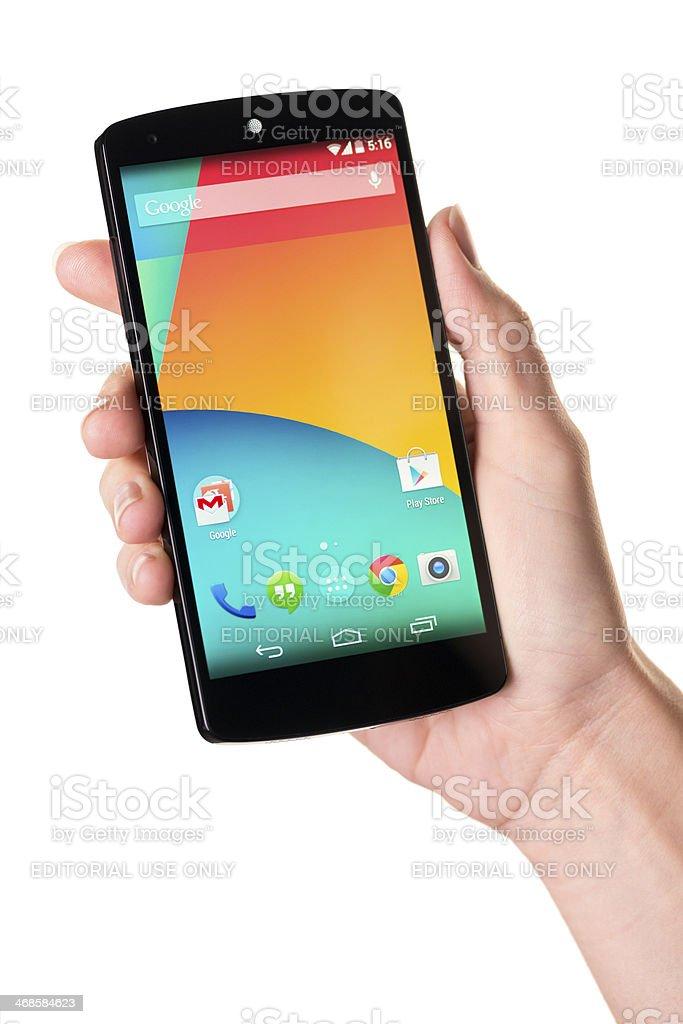 LG Google Nexus 5 in a hand stock photo