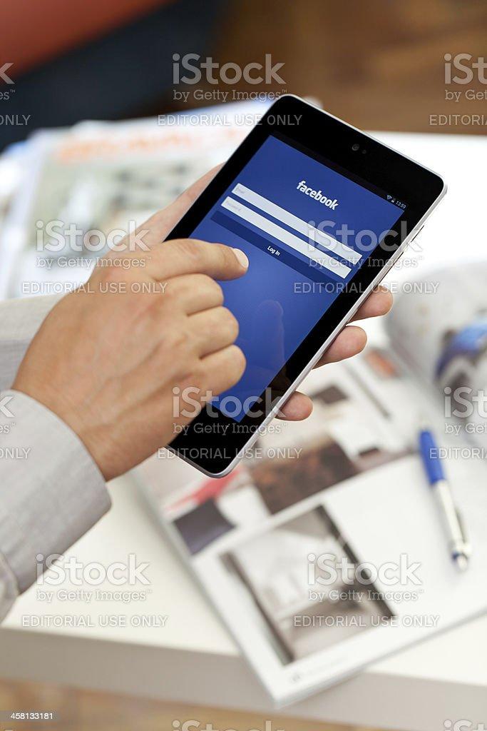 Google Nexus 7 and Facebook stock photo