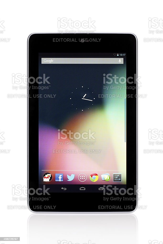 Google Nexus 7 with clipping path stock photo