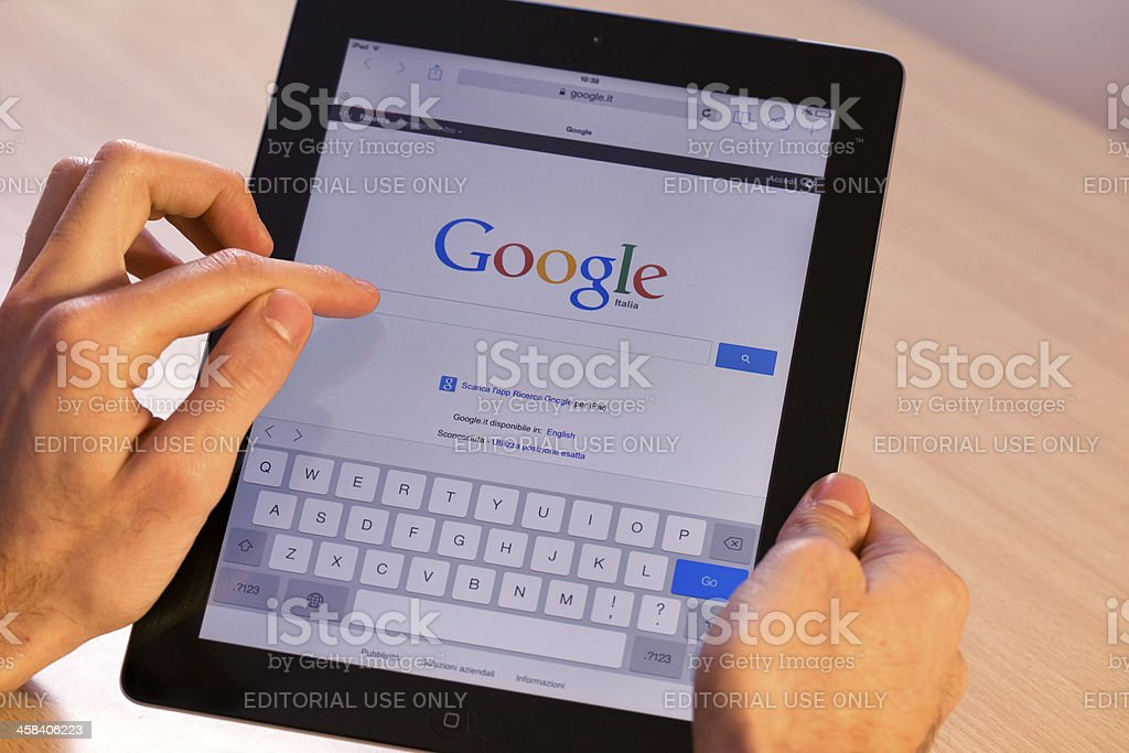 Google on Ipad stock photo