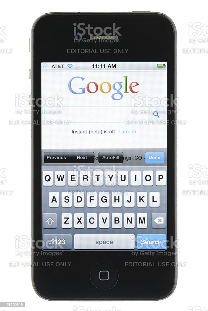 Google on the iPhone royalty-free stock photo