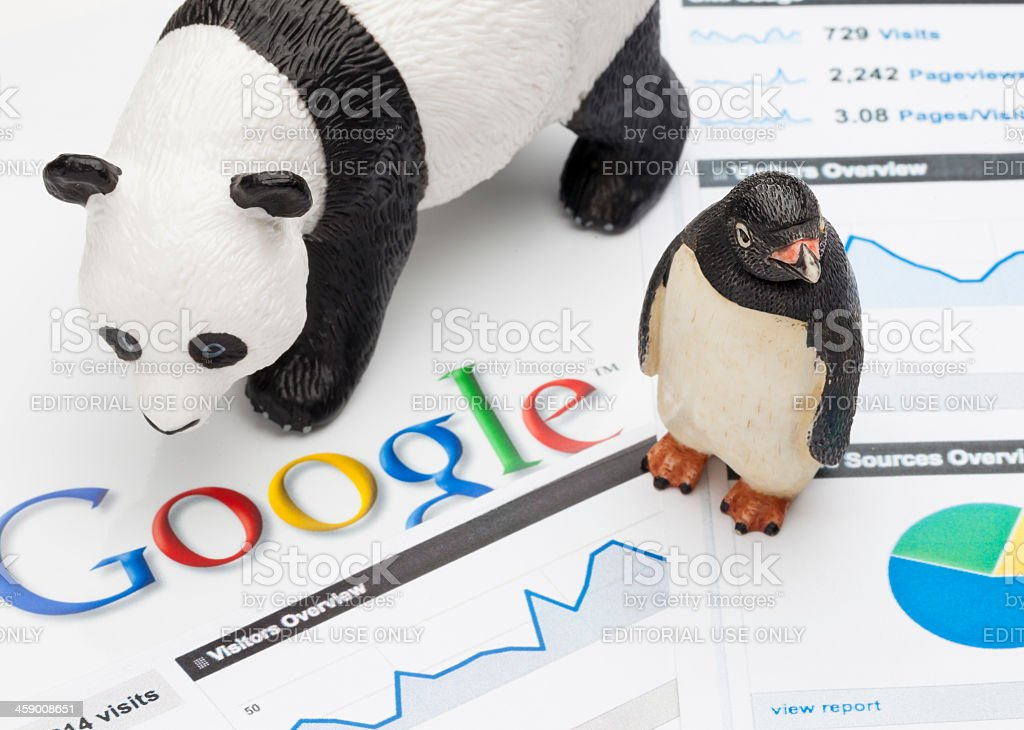 Google Panda and Penguin stock photo