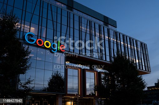 Seattle, USA - Aug 19, 2019: The new Google building in the south lake union area at twilight.