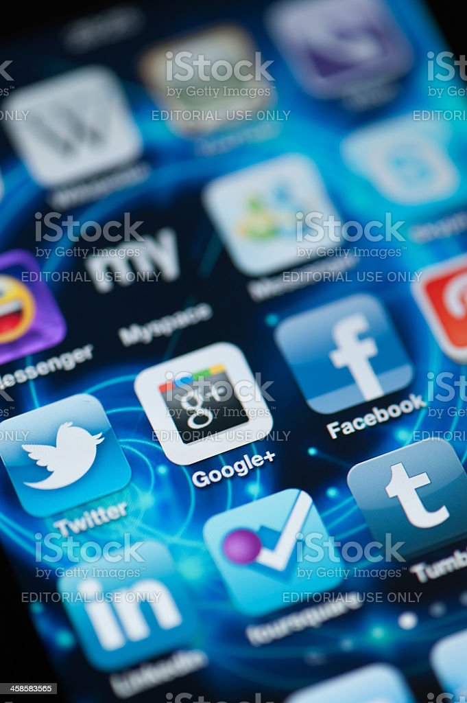 Google Plus and other Social Media Applications on Iphone royalty-free stock photo