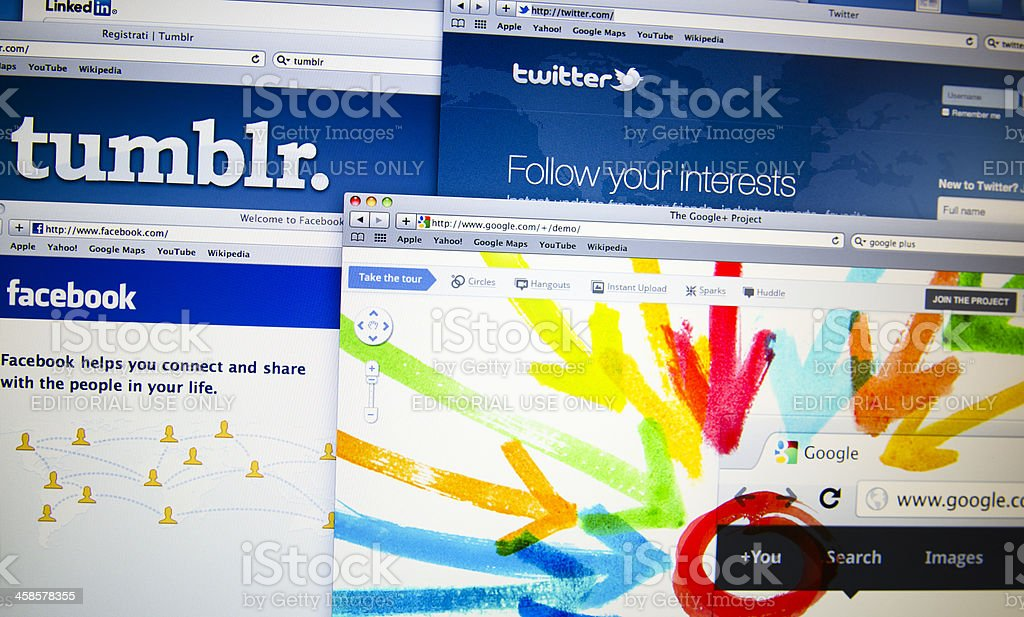 Google Plus, Facebook, Twitter and others new social network royalty-free stock photo