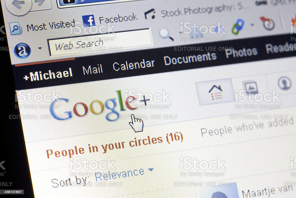 Google Plus on a computer screen royalty-free stock photo