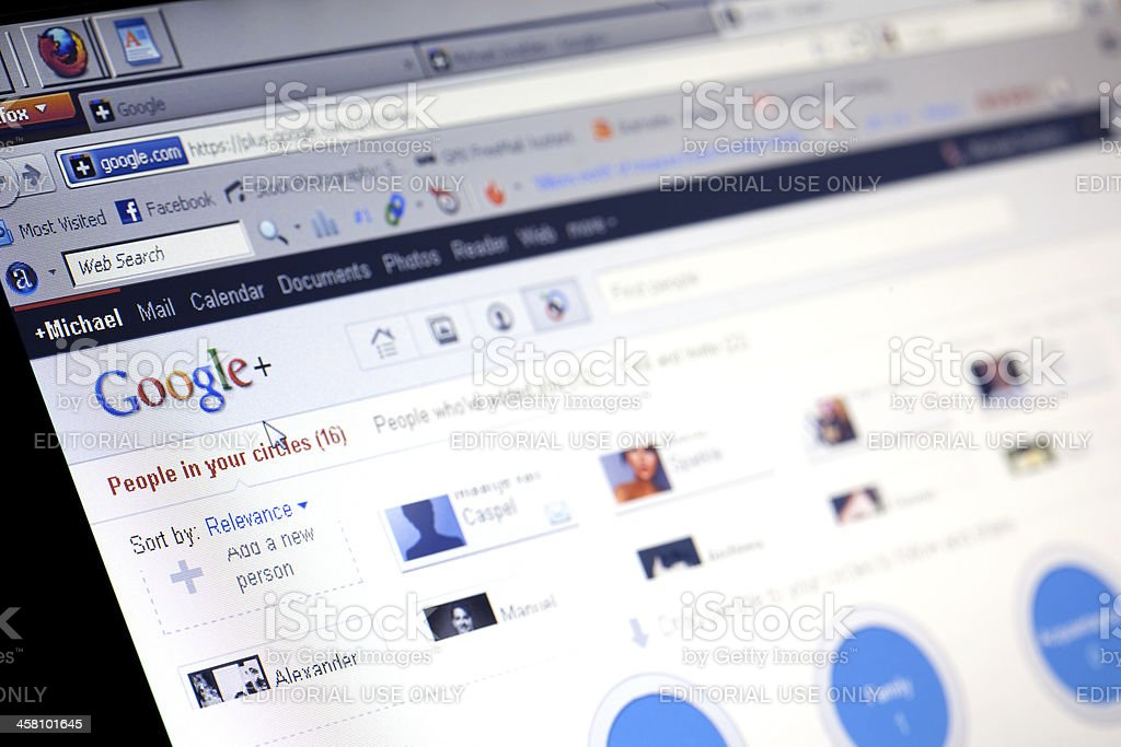 Google Plus on a computer screen stock photo