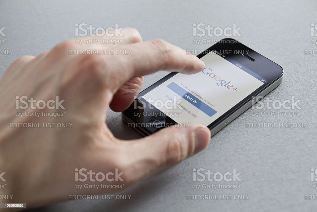 Google Plus On Apple iPhone stock photo
