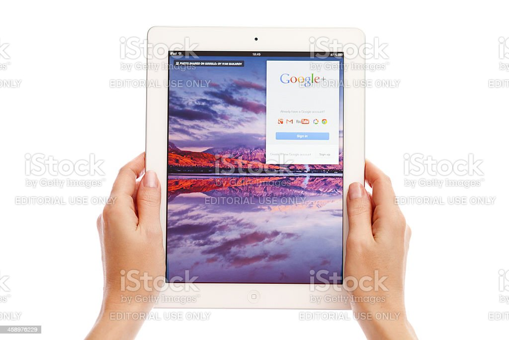 Google Plus on iPad royalty-free stock photo