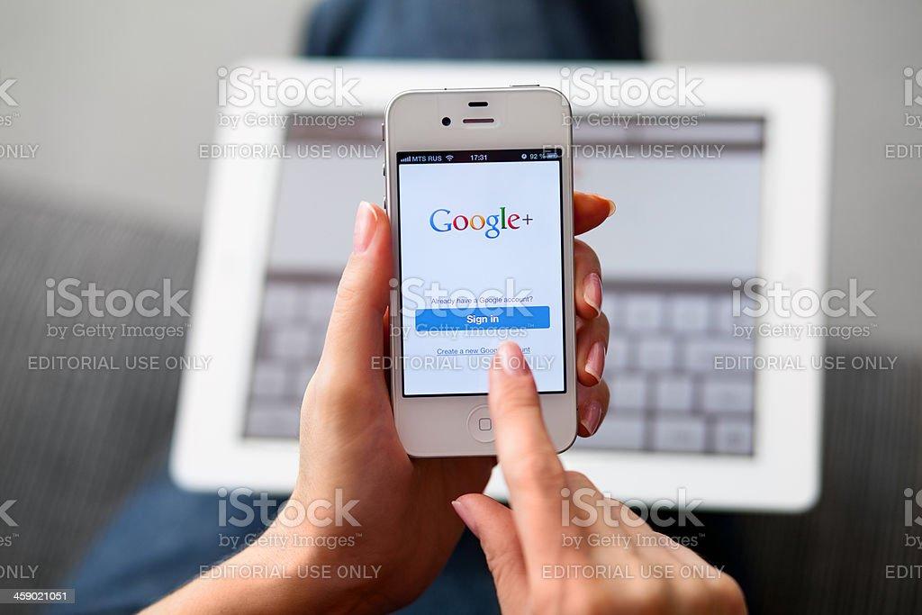 Google Plus on iPhone royalty-free stock photo